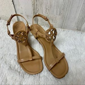 💗 Tory Burch Miller Wedge Sandals Tan Size 7